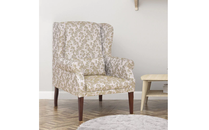 Mid-scale printed chair in soft tones