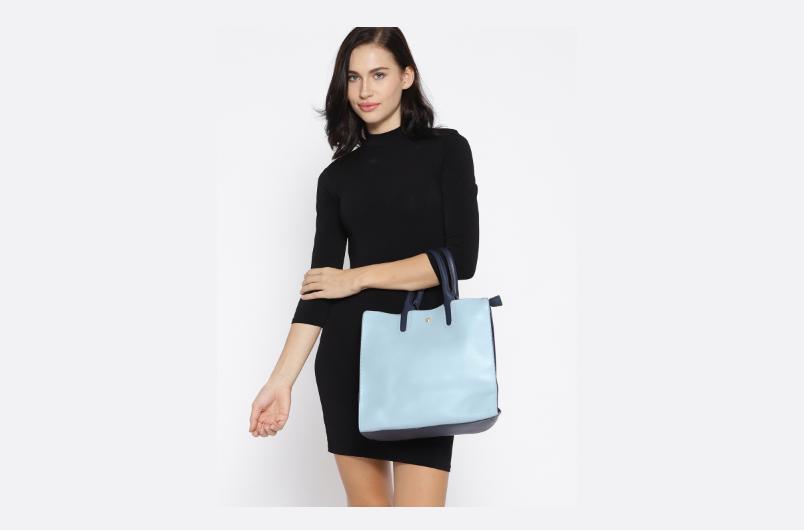 Top handle work bag with zip closure