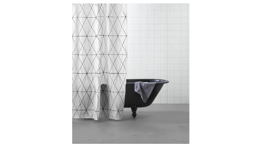 Black And White Printed Shower Curtain