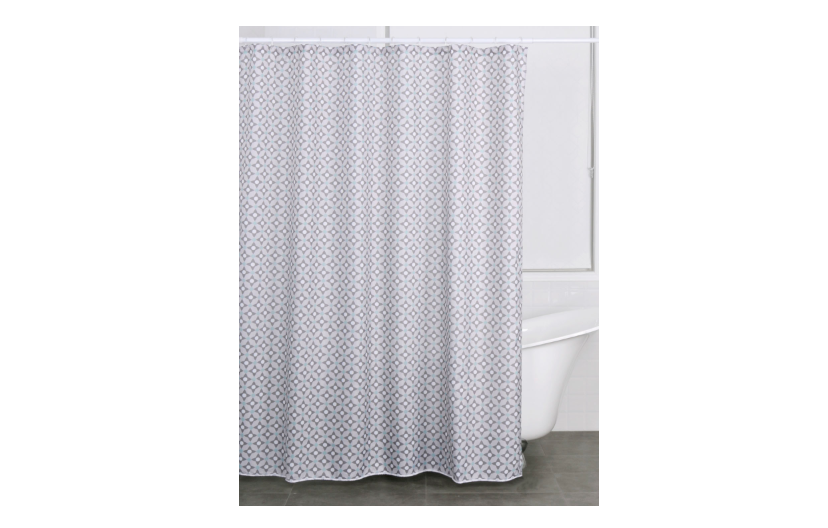 White and grey printed shower curtain