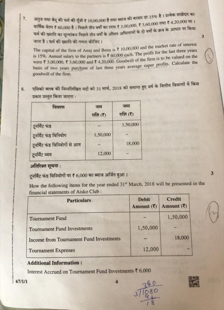 CBSE 12th Accountancy Question Paper 2019 - Times of India