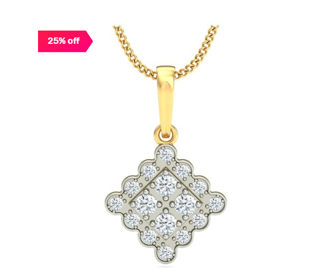 25% off on P.N.Gadgil Jewellers Sparkling Quadrangle 18k Gold & 0.32 ct Diamond Pendant without Chain
