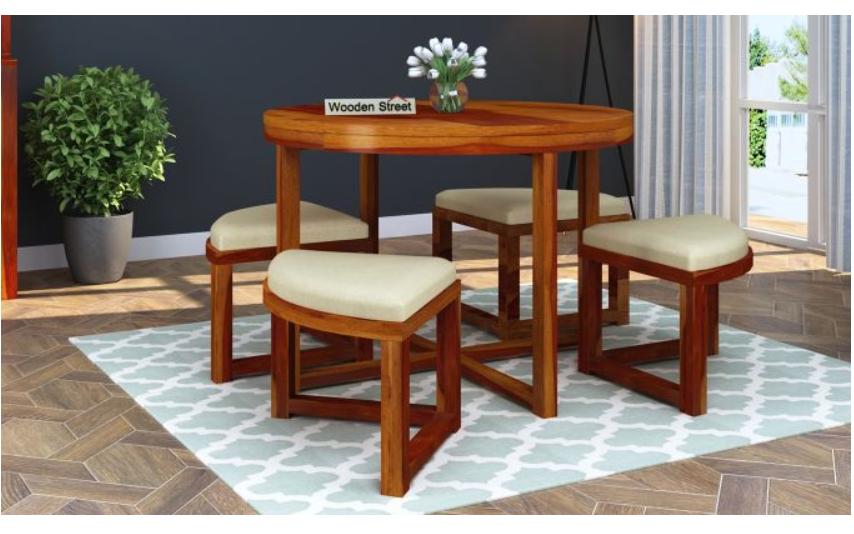 4-seater dining table with stools