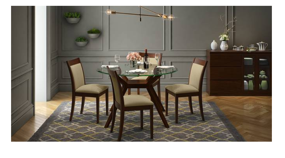 4-seater glass dining table