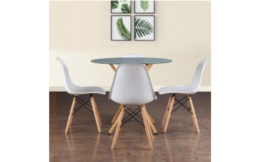Metal 4-seater dining table in white