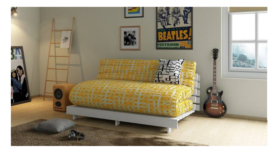Youthful, bright print futon