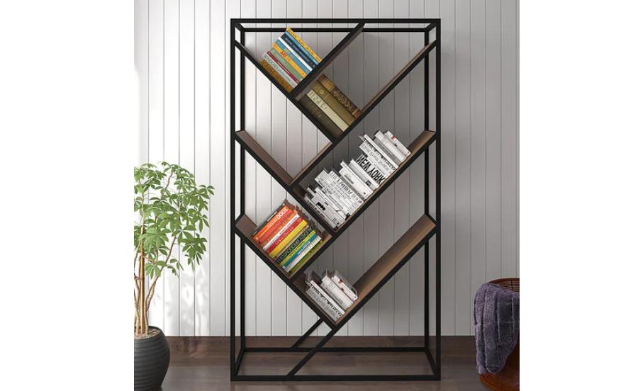 Diagonal display bookshelf