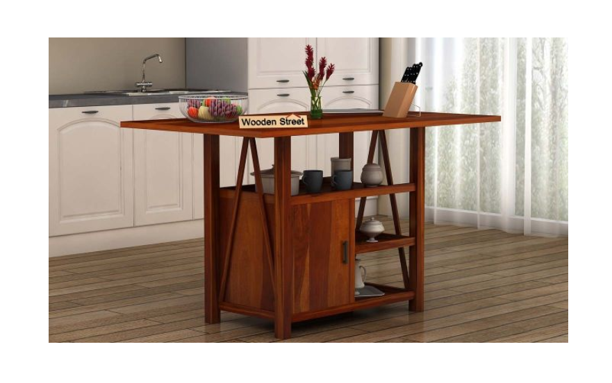 Wooden table as a kitchen island