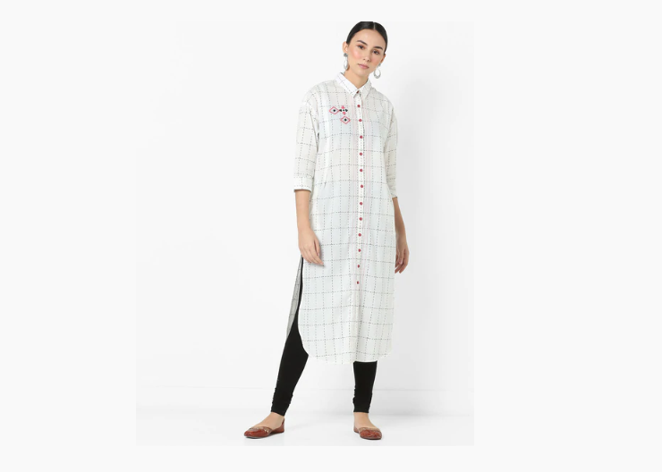 Checked Straight kurti with Embroidery