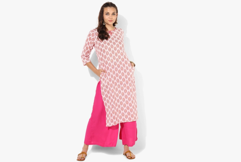 Pink Printed Straight Fit Kurti With 3/4th Sleeves