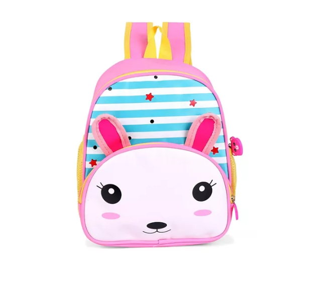 Striped Kitty Face School Bag Blue