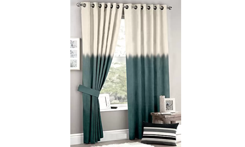 Sun-blocking poly-cotton curtains