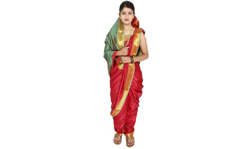 Silk Nauvari Saree in a Lavani drape