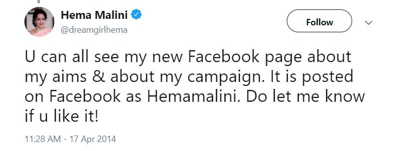 Hema Malini Facebook