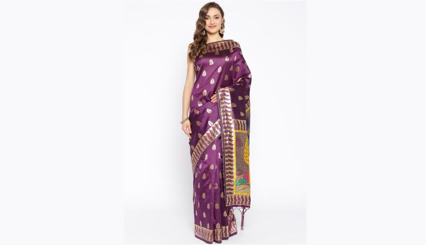Aubergine & Golden Woven Design Paithani Saree