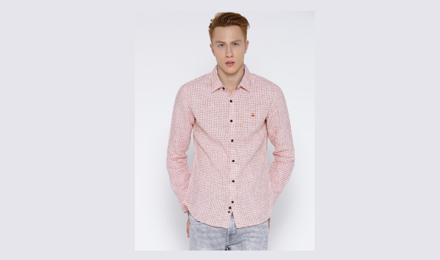 Men White & Red Checked Smart Casual Shirt