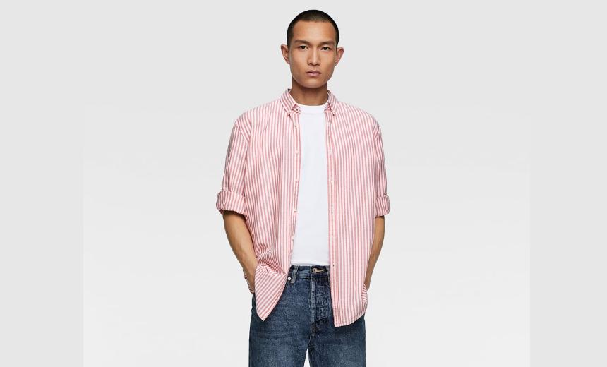 Linen blend striped shirt