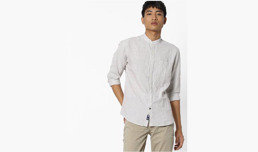 Light beige solid linen shirt