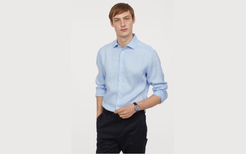 Formal blue linen shirt