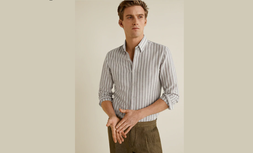 Slim-fit cotton linen-blend shirt