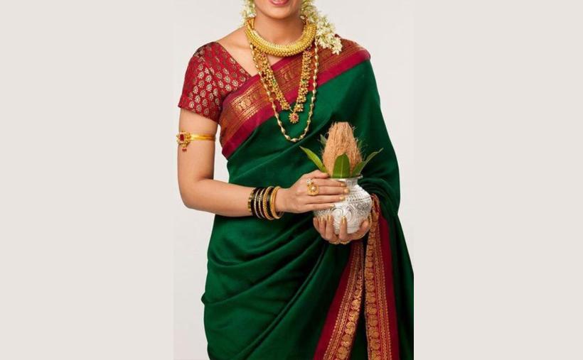 Soft-silk green saree with pink border