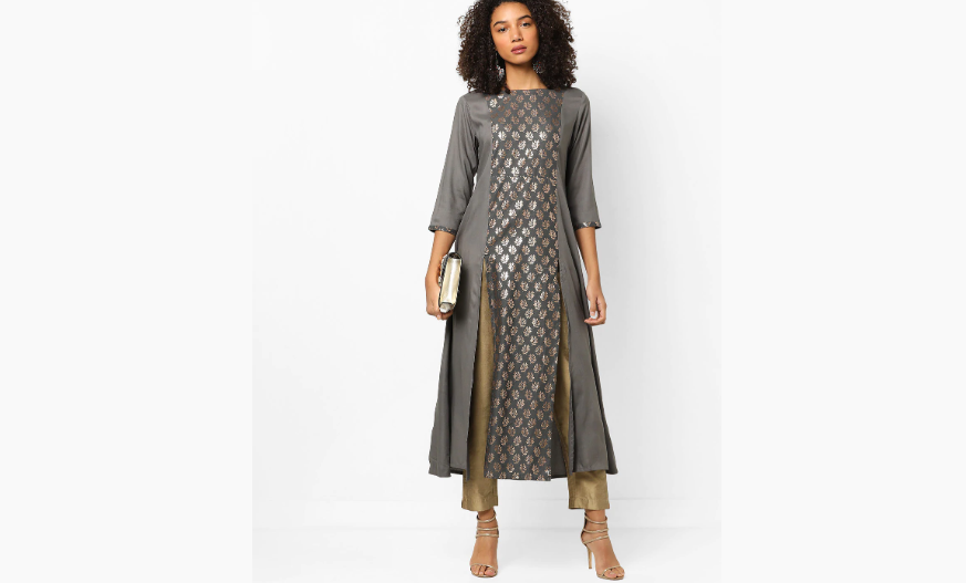 Grey kurti with front slits for Navratri