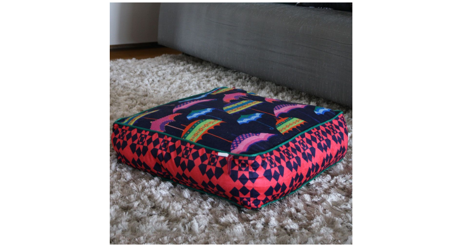 Quirky printed floor cushion