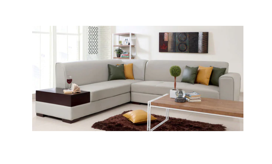 Sectional Sofa in Light Grey Leatherette