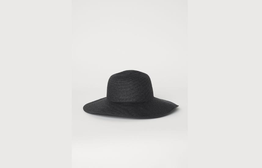 Black paper straw hat