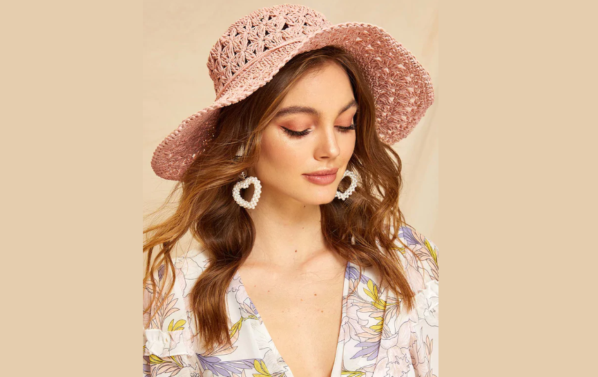 Woven Hollow Straw Paper Floppy Hat