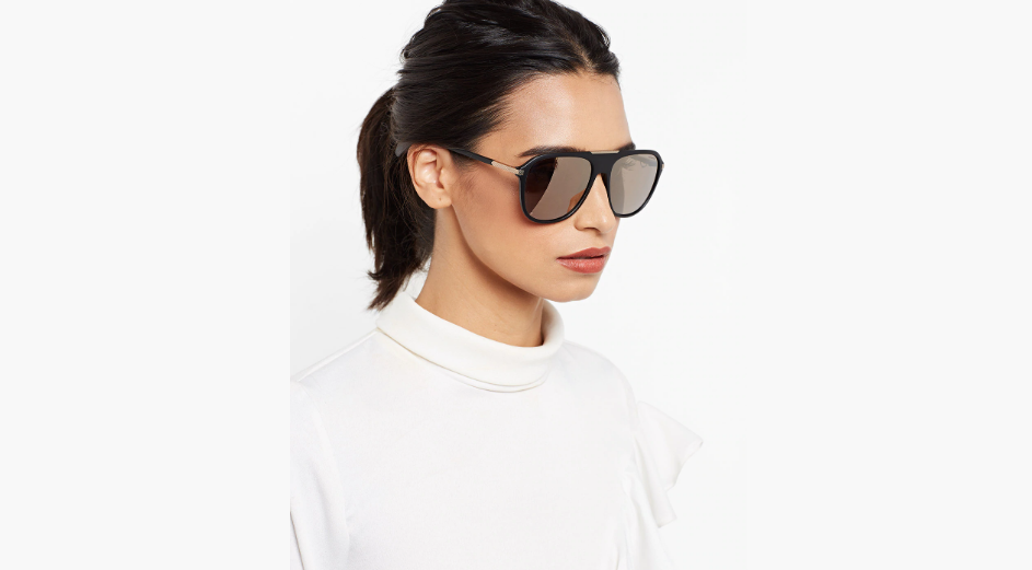 Round Sunglasses with a brow frame