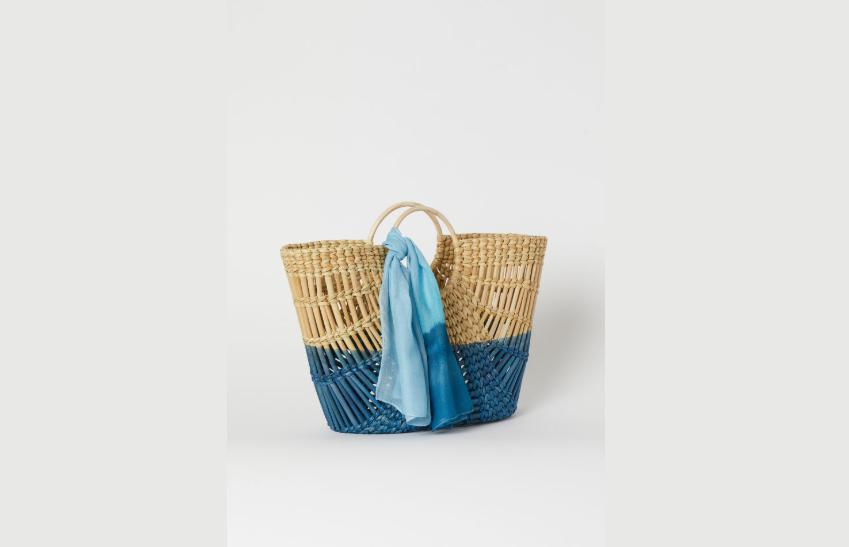 Straw bag with scarf