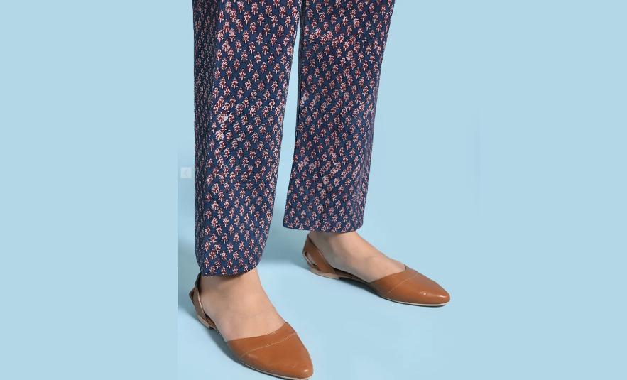 Printed blue cotton pants