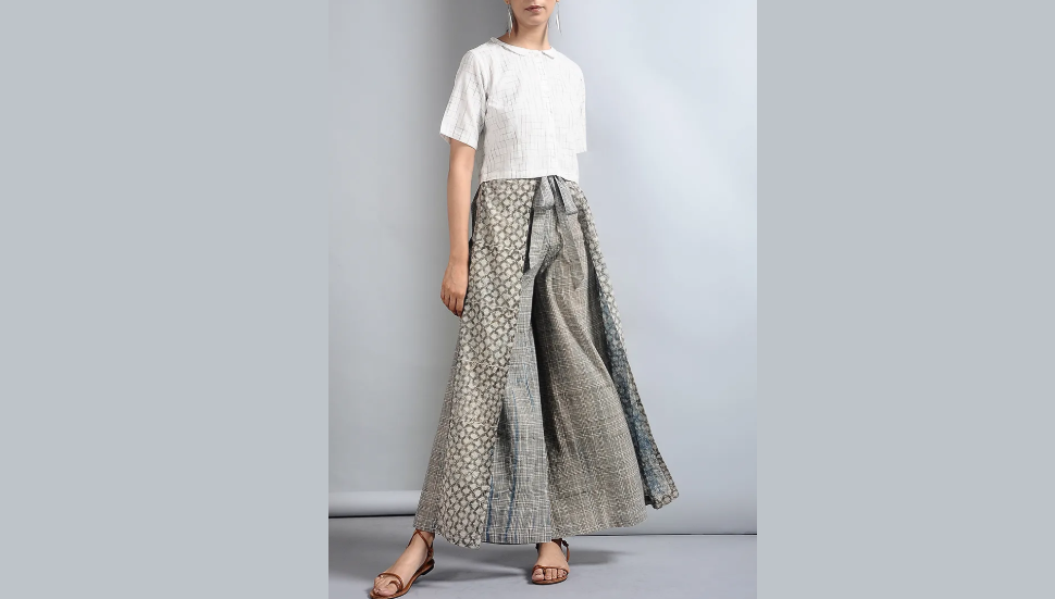 Printed grey cotton palazzo pants
