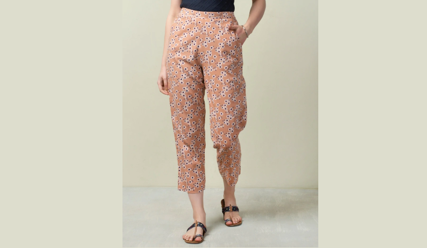Peach printed cotton pants