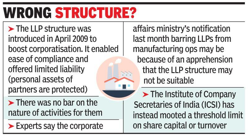 Govt bars LLPs from manufacturing sector