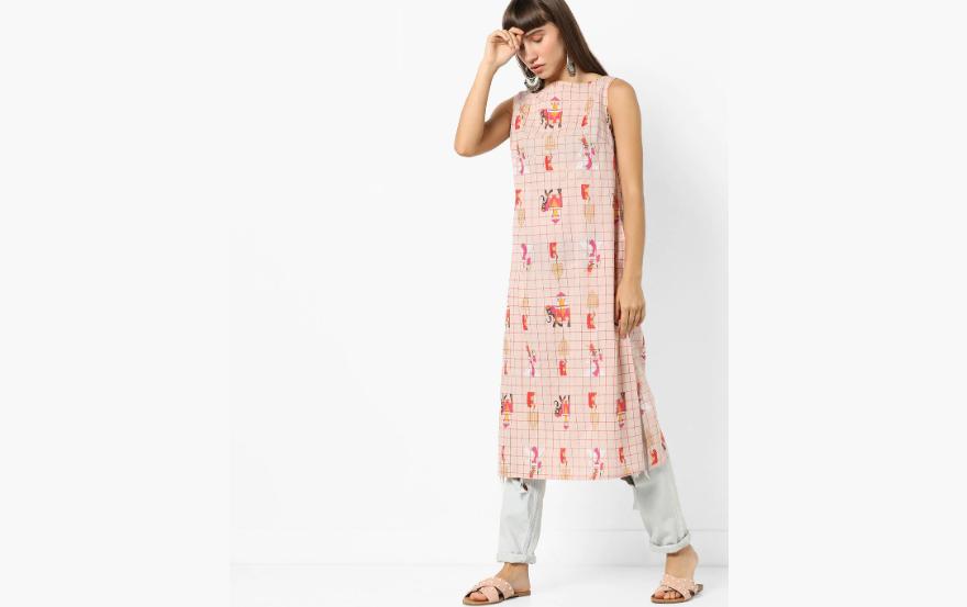 Printed sleeveless kurti