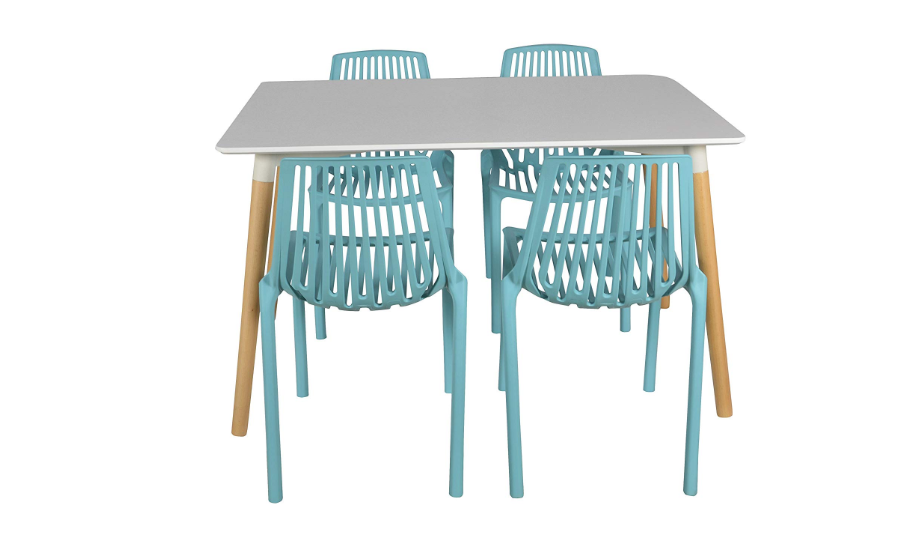 Blue and white four-seater dining table