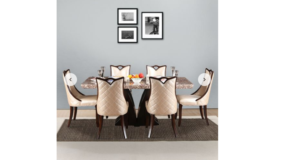 Marble Top Six Seater Dining Set in light pink