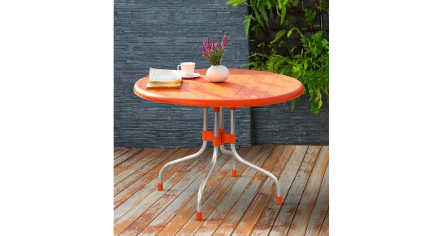 Four Seater Dining Table in Glossy Orange