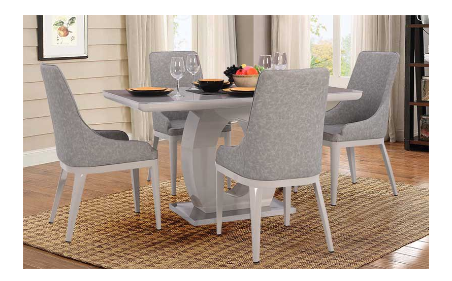 Grey and white four Seater dining set