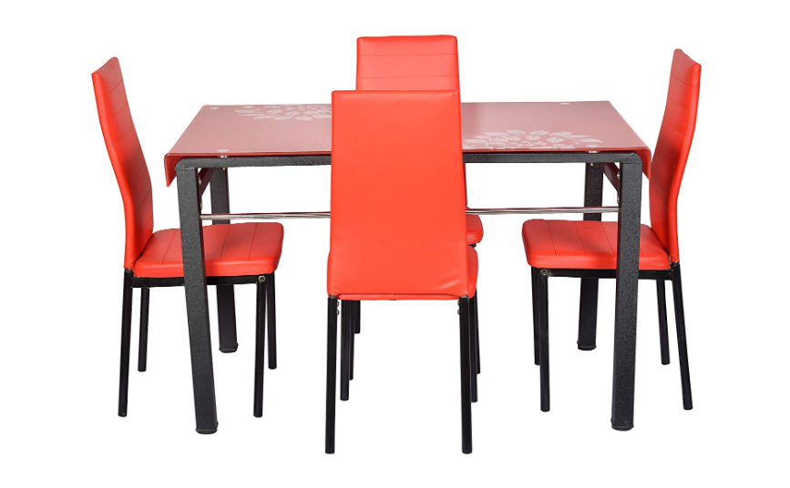 4 Seater Dining Table Set in fiery red
