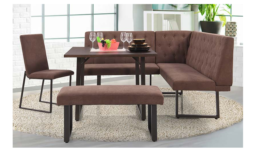 Six Seater Dining Set In Brown