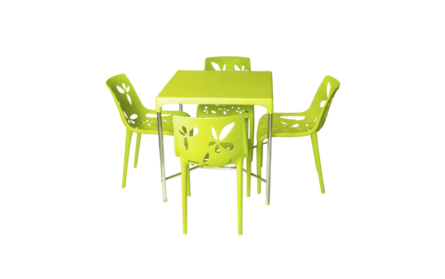 Four Seater Dining Table Set in leaf green