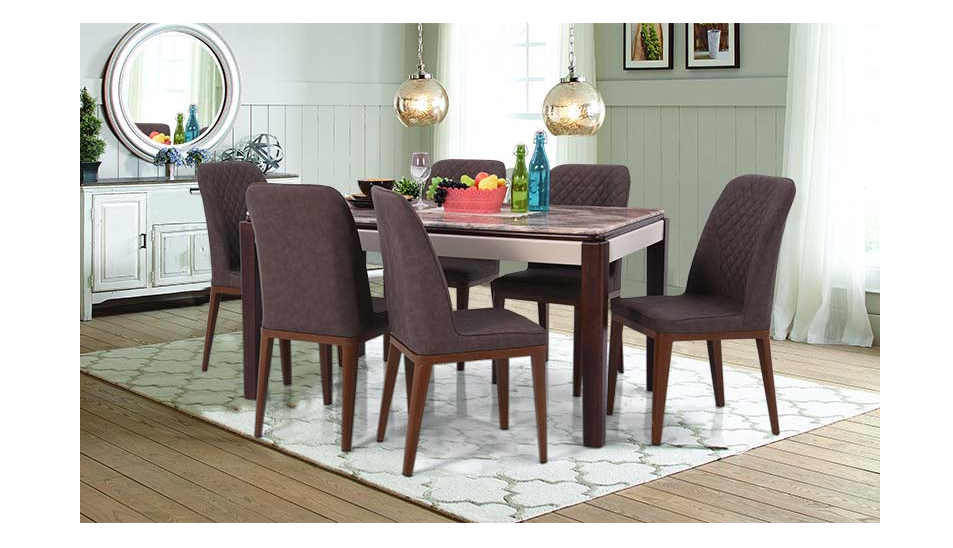 Six-seater dining table set in dark grey and brown