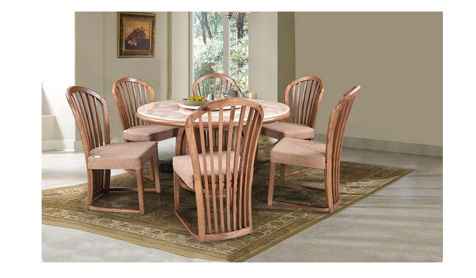 Six seater dining set with Italian art marble top in a natural finish