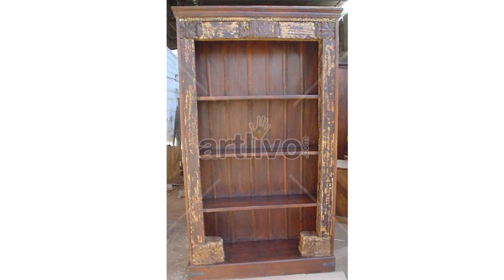 Vintage Indian carved plush teak bookshelf