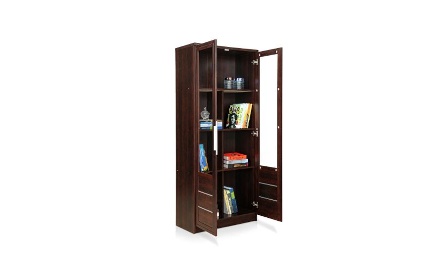 Two-door bookshelf in honey brown