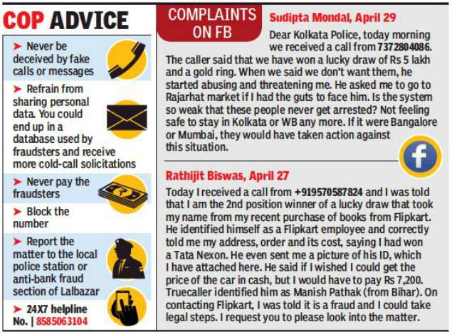 Identifying Fraudulent Calls Alert Citizens Knock On Kolkata Police Doors Kolkata News Times Of India