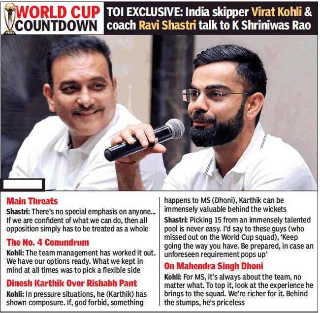 TOI Exclusive: Virat Kohli and Ravi Shastri on World Cup, MS Dhoni